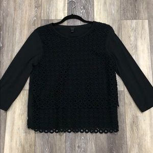 J.Crew black 3/4 sleeve eyelet top size L